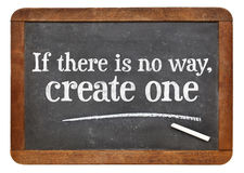 Create solution - otivational phrase on blackboard Royalty Free Stock Image