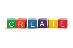 Create. Is spelled in letter blocks isolated on white background Stock Photo