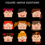 Create a square avatar girl emotions Stock Image