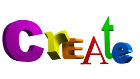 Create Text. Colourful 3d text of the word create Royalty Free Stock Photography