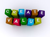 Create value spelled in blocks. Create value spelled in colorful blocks isolated on white stock photos