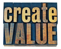 Create value wood typography. Create value typography - inspiration concept - isolated words in vintage letterpress wood type blocks Royalty Free Stock Photo