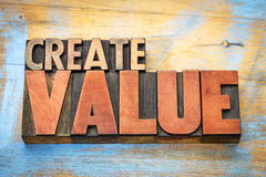 Create value word abstract in wood typography. Create value typography - inspiration concept - iword abstract in vintage letterpress wood type blocks stock photos