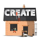Create. Vector Creativity DIY Concept with House Construction. Isolated on White Background royalty free illustration
