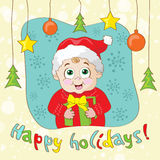 Create a Vintage-Style Christmas Card with child stock illustration