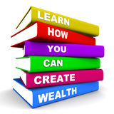 Create wealth. Creating wealth concept, books piled up with text on how to learn to creating wealth, white background vector illustration