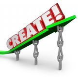 Create Word Arrow Team New Idea Original Plan Innovation. Create word in 3d letters on an arrow lifted by a team working together to illustrate making a new idea Royalty Free Stock Image
