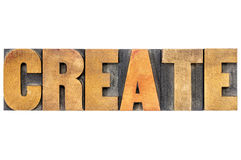 Create word typography in wood type Royalty Free Stock Photos
