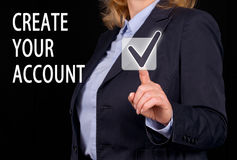 Create your Account - Businesswoman with touchscreen button. And text royalty free stock images
