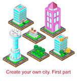 Create your own city. First part . Vector illustration Stock Photos