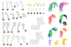 Create your own cute little pony. Different types of mane, tails, eyes and other elements. Royalty Free Stock Images