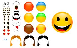 Create your own emoticons with woman version Royalty Free Stock Image