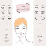 Create your own face. The set of elements of a woman's face: eyes, eyebrows, noses, lips. Beautiful young woman with short hair. Hand-drawn vector illustration Stock Photography