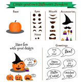 Create your own halloween pumpkin character constructor, kit. Emoticons, stickers, design elemets creator Stock Photo