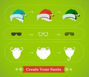 Create your own hipster Santa Christmas card. Illustration Stock Photography