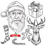Create your own hipster santa set hand drawn . Stock Photography