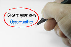 Create Your Own Opportunities Word Royalty Free Stock Image