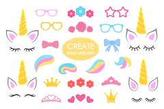 Create your own unicorn - big vector collection. Unicorn constructor. Cute unicorn face. Unicorn details - Horhs, eyelashes, ears,. Hairstyles, flowers, crowns Stock Photos