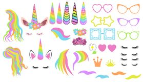 Create your own unicorn - big vector collection. Unicorn constructor. Cute unicorn face. Unicorn details - Horhs, eyelashes, ears stock illustration