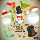 Create your snowman. Set of elements for collage Royalty Free Stock Image