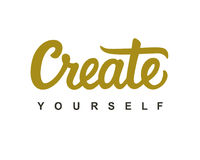 Create Yourself modern calligraphy. Motivational quote, isolated on white. Vector hand written ink lettering in gold and black colors Stock Images