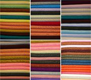 Colored fabrics. Created a collage of colorful fabrics Stock Images