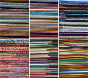 Colored fabrics. Created a collage of colorful fabrics Royalty Free Stock Photos