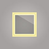 Created gold picture frame with mirror reflection Stock Images
