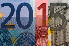 2015 created out of Euro bank papers Royalty Free Stock Photography