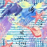 Creatief abstract waterverf marien naadloos patroon Stock Afbeelding