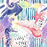 Creatief abstract waterverf marien naadloos patroon Stock Afbeeldingen