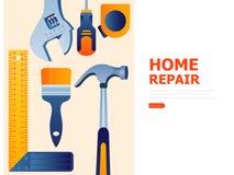 Creatief bannerontwerp met het moderne concept van reparatiehulpmiddelen stock illustratie
