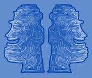 Creatief blauw gezicht Stock Afbeeldingen