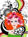Creatief bloemenmeisje royalty-vrije illustratie