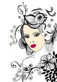 Creatief bloemenmeisje vector illustratie