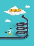 Creatief Concept de Carrièregroei of Weg naar het succes op de Spiraalvormige Weg Stock Illustratie