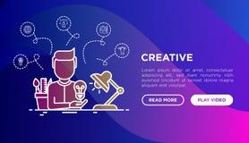 Creatief concept: de schepper produceert idee stock illustratie