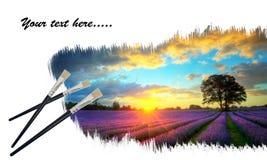 Creatief concept het schilderen lavendelzonsondergang Royalty-vrije Stock Afbeeldingen