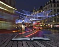 Creatief conceptenidee van de lichten van Kerstmis van Londen stock fotografie