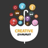 Creatief de zomerpictogram royalty-vrije stock foto