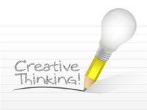 Creatief die het denken bericht met een bol wordt geschreven Royalty-vrije Stock Afbeelding