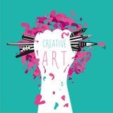 Creatief en art. De hand houdt kunstenhulpmiddelen Motivatieaffiche Stock Foto's