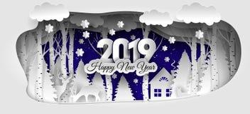 Creatief gelukkig nieuw jaar 2019 ontwerp De winter bos Gelukkig nieuw jaar 2019 stock illustratie