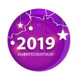 Creatief gelukkig nieuw jaar 2019 ontwerp Gelukkige nieuwe jaar 2019 document kunst en ambachtstijl stock illustratie