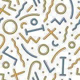 Creatief geometrisch naadloos patroon met kleurrijke cijfers en lijnen op witte achtergrond In vectorillustratie binnen royalty-vrije illustratie