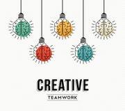 Creatief groepswerkconceptontwerp met menselijke hersenen Stock Afbeelding