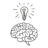 Creatief hersenenidee en gloeilamp Stock Foto