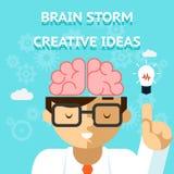 Creatief het ideeconcept van het hersenenonweer Royalty-vrije Stock Afbeeldingen