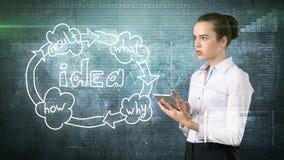 Creatief ideeënconcept, de mooie tablet van de onderneemsterholding op geschilderde achtergrond dichtbij idee organisatorische gr stock foto's