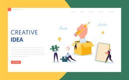 Creatief Idee Bedrijfstechnologielandingspagina Karakter Team Work Together op het Plan van de Succesoplossing voor Project royalty-vrije illustratie